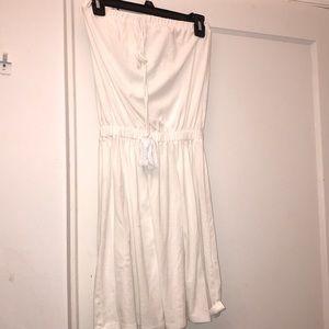 Strapless white coverup dress